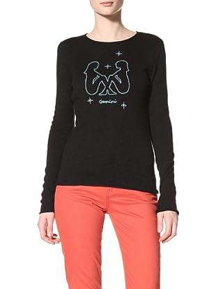 Acrobat Women's Gemini Long Sleeve Crew Sweater (Black/Aqua Marine)