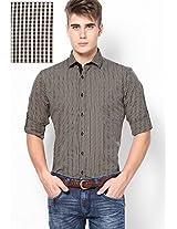 Beige Micro Checks Roll Up Sleeve Shirt