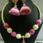 Silk thread necklaces jumka pendent