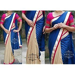 Shriya's Half Saree With Cream Pleats & Blue Malai Silk Pallu With a Gold & Pink Velvet Border.