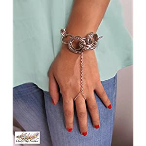 Under the Feather Hand Chain- Silver Interlaced Rings