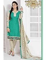 Cotton Printed Green Churidar Suit-EBSK12711533039