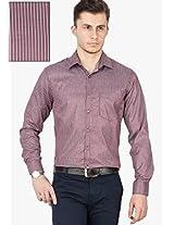 Brown Striped Slim Fit Formal Shirt Copperline