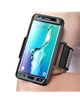 Samsung Galaxy S6 Edge Plus Armband, SUPCASE Easy Fitting Sport Running Armband for Galaxy S6 Edge Plus + Case (2015 Release) with Premium Flexible Case Combo (Black)