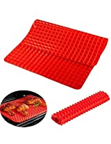 Hua You Non-Stick Silicone Healthy Baking Mat - For Crisp Results Without Frying (Red)