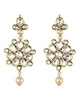 Be You Brilliant White Colour Kundan Meena Work Rhodium Plated Brass Dangle Earring for Women