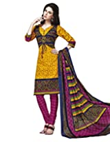 Jevi Prints Gold & Pink Cotton Printed Unstitched Dress Material