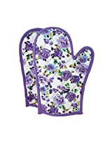 ShalinIndia Cotton Oven Mitts Printed Set of 2 Quilted Cooking Gloves,OG02-1657,Purple,8 x12 Inch