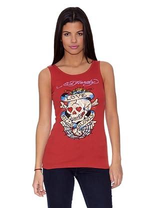 Ed Hardy Camiseta Love Kills Web (Rojo)