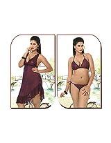 Indiatrendzs Women's Sexy Hot Nighty Dark Purple 2pc Set Bedroom Sleepwear Freesize