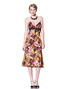 Chris Benz Women's Wiggle Sleeveless Florabunda Printed Dress (orange/pink)