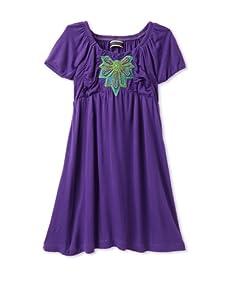 Saurette Girl's Bubble Sleeve Dress (Grape)