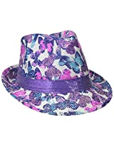 Accessories 22 Girls' Butterfly Straw Fedora with Sequin Band, Multi, One Size