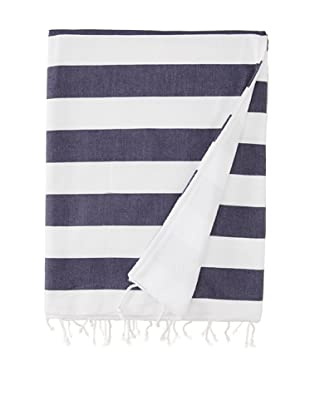 Nine Space Ayrika Beach Collection Wide Stripe Terry Fouta Towel (Blue)
