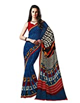 Blue Color Georgette Printed Saree with Blouse 7036