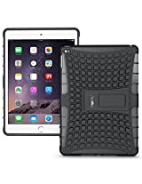 Heartly Flip Kick Stand Spider Hard Dual Rugged Armor Hybrid Bumper Back Case Cover For Apple iPad 6 Air 2 Tablet - Rugged Black