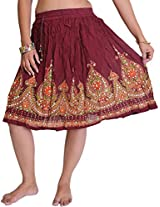 Exotic India Short Skirt With Printed Flowers and Embroidered Sequins - Color Rumba RedGarment Size Free Size