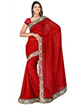 Sehgall Saree Indian Ethnic Professional Georgette with Viscose Butti Maroon