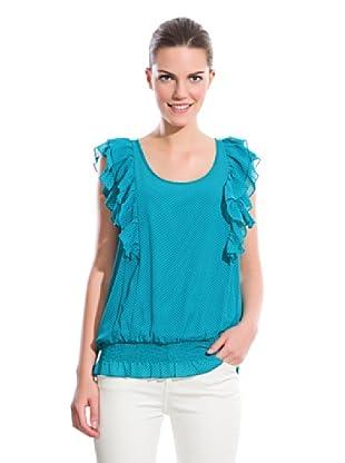 Cortefiel Blusa Básico Volantes (Azul)