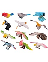 Goodlucky365 Plastic Flying Birds Animals Figure Toy Model Set Kids Toy Multi Color Pack Of 12