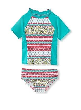 Bathing Beauty by Mack & Co Girl's Dotted Stripe Rashguard Swim Set (Teal/Pink)