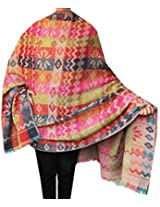 Boiled Wool Jamawar Shawl Scarves Womens Indian Clothing (78 x 42 inches)
