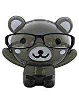 Bear Shape Eye Glasses Stand With Piggy Bank - Black - Transparent Money Savings Kiddy Toy