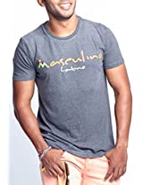 Masculino Latino Casual Grey T-shirts Round Neck for Men MLT1007A-S