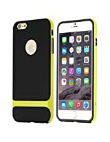 Rock Classic Shell Hybrid Double Layer Shock Absorbing Armor Defender Case Cover for 4.7 inch Screen Apple iPhone 6+(TEMPERED SCREEN GUARD PROTECTOR ) - GREEN