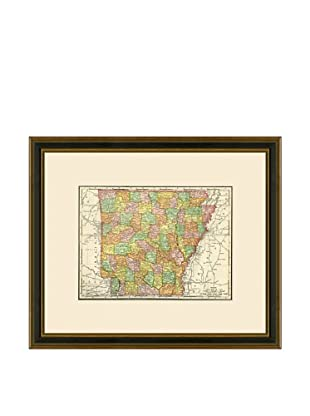 Antique Lithographic Map of Arkansas, 1886-1899