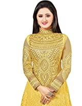 Vibes Women Georgette Salwar Suit Dress Material (V196-45006 _Yellow _Free Size)