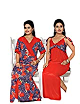 Indiatrendzs Bridal Red lace Honeymoon Nighties Nightgown 2pc Set - Freesize