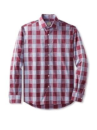 Mason's Men's Long Sleeve Woven Plaid Shirt (Raspberry Multi)