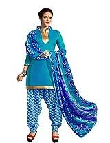 Suchi Fashion SkyBlue Printed Crepe Dress Material