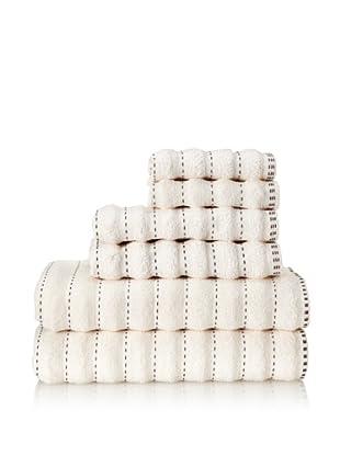 Famous International Stitches 6-Piece Towel Set (Ivory/Choc)