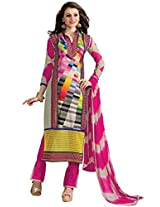 Vibes Womens Georgette Patch Work Straight Unstitched Dress Material (V205-10 _Multi-Coloured)