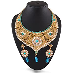 Sky Blue India Kundan Necklace Set with Meenakari by Variation