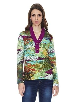 Peace & Love Camiseta Mianyang (Violeta / Verde Agua)