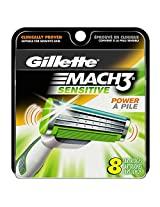 Gillette Mach3 Sensitive Power Men's Razor Blade Refills 8 Count (packaging may vary)