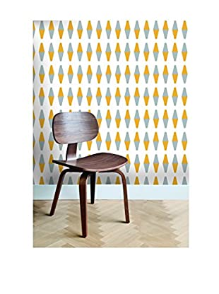 Tempaper Retro Removable Wallpaper, Yellow/Grey