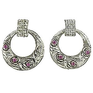 Tanya Fashion Jewelry Crystal Dangle & Drop Earring For Women (Silver )