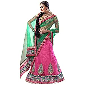 Styles Closet Stone Work Lehenga Choli - Green & Pink
