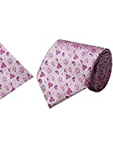 Navaksha Pink Micro Fiber Tie with Pocket Square