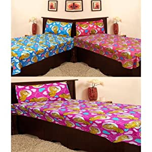 Homefab India Set Of 3 Single Bed-Sheets With 3 Pillow Covers (Combo166)