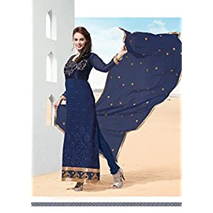 Exclusive Designer Anarkali Salwar Kameez Blue Color Suit