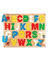 Skillofun Alphabet Picture Tray with Knobs, Multi Color