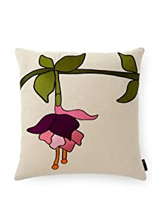 """emma at home Embroidered Linen Pillow, Fuchsia, 20"""" x 20"""""""