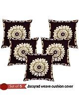 Handloom Hub Sunflower Jacqrad Weave Cushion Cover(Set Of 5)