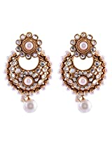 Ganapathy Gems 1 Gram Gold Plated Chandbali With White Stones Ans Pearls