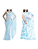 MemSahiba Women Semi-Chiffon Saree set of 2 (MS-1086-1092)